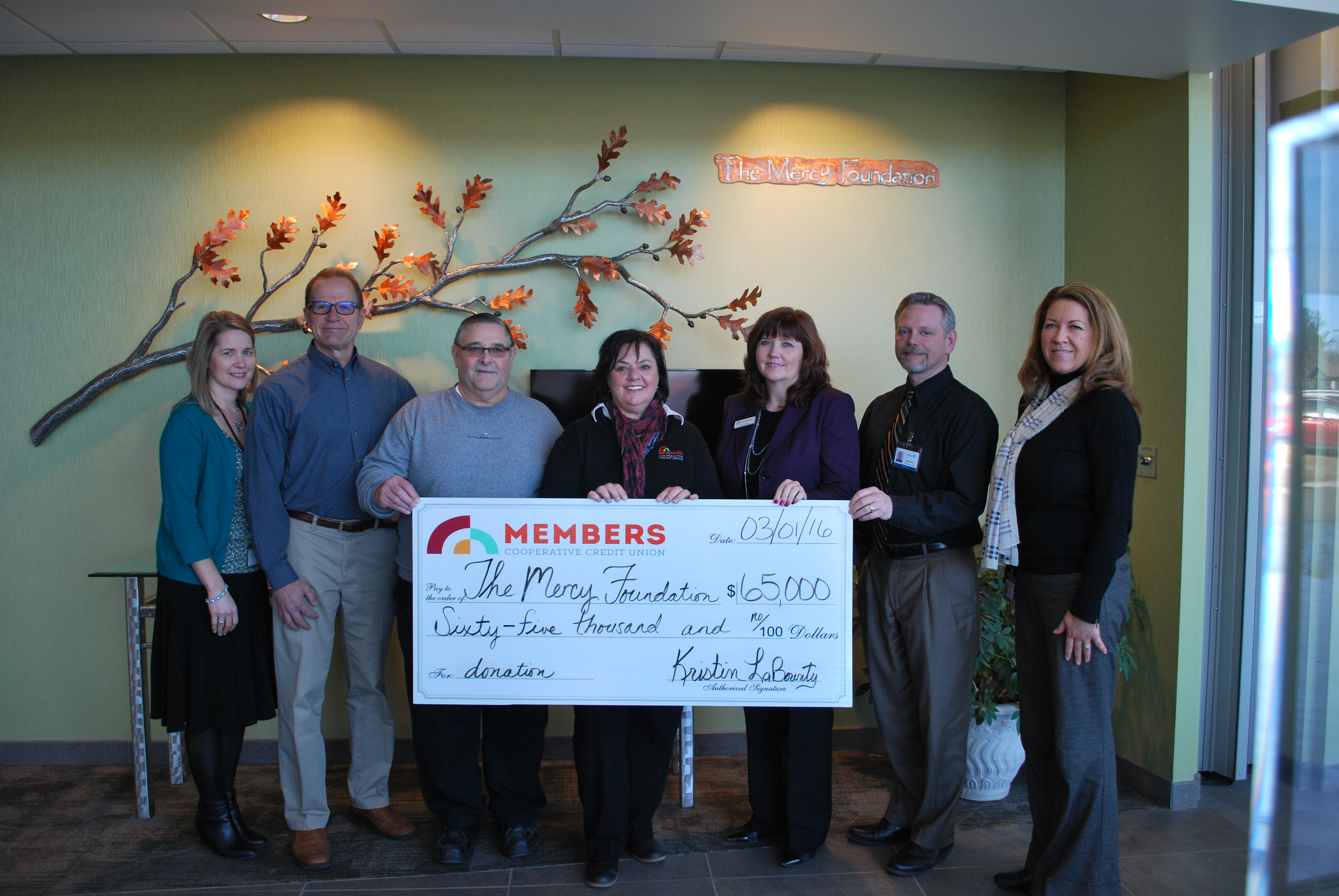 MCCU Donates $65,000 to Mercy Foundation